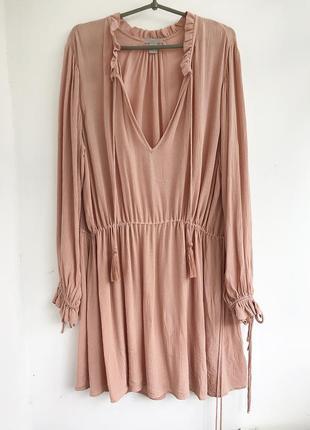 Натуральное пудровое платье с кисточками в стиле бохо, туника этно plus size