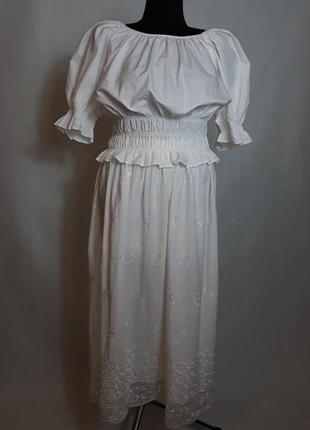Белый комплект котон вышивка