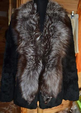 Натуральная шуба saga furs, шубка! мех стриженный бобёр, бобра+чернобурка
