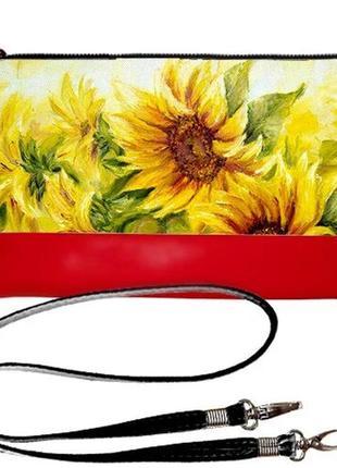 Сумка клатч красный принт подсолнухи украина