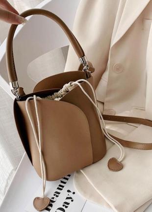 Сумка мешок коричневая клатч1 фото