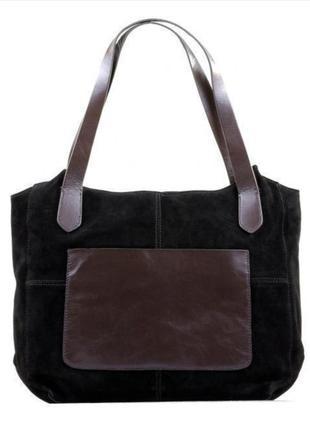 Натуральная замшевая сумка шопер