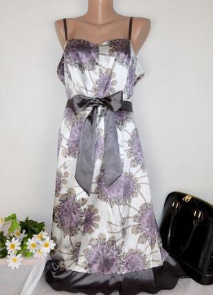 Вечернее нарядное миди платье сарафан definitions шелк принт цветы этикетка