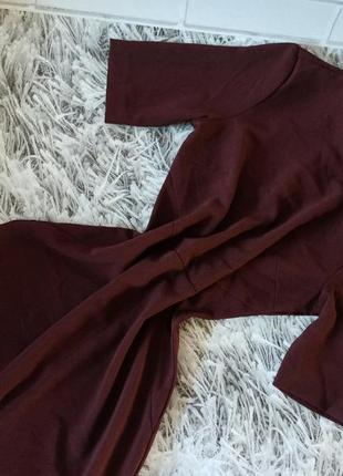 Стильное деловое платье h&m, платье h&m бордовое