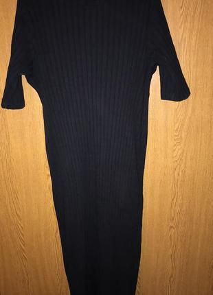 Чёрное платье в широкий рубчик asos