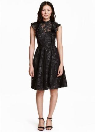 Платье черное с узором h&m р.38 165/88а