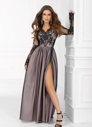 Платье женское вечернее длинное с ажурными рукавами