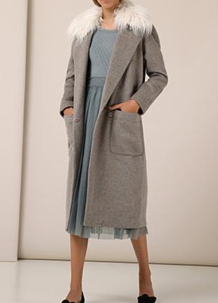Новое пальто бойфрендз hoss intropia 90% шерсть съёмный мех eu42 (наш 48) премиум