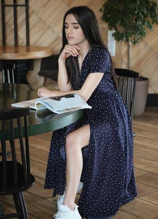 Новое платье в горох синее платье в пол макси платье на запах