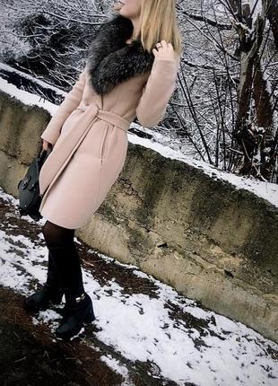 Кашемировое пальто песец