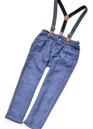 Стильные синие,ионкие фланелевые брюки с косыми карманами, 2-3 года