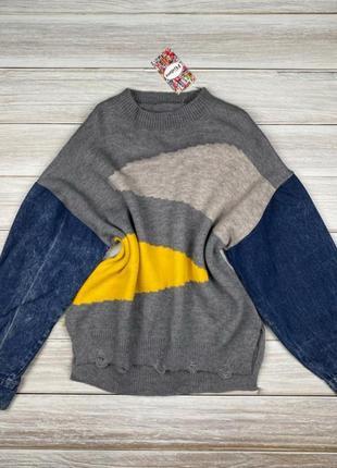 Кофта з джинсовими рукавами