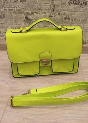Неоновая яркая зелёная сумка - портфель