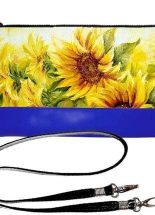 Синий клатч сумка с подсолнухами украина эко-кожа