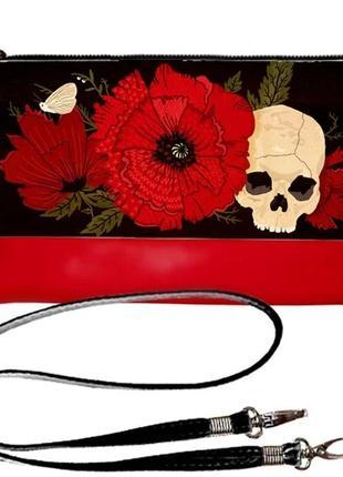 Эффектный женский клатч принт череп хоррор готика
