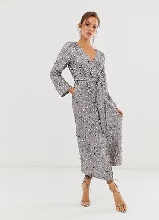 Платье миди халат на запах в пайетку в паетках
