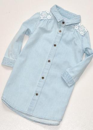 Очень красивое платье рубашка из светлого джинса с кружевом, 9-12 мес.