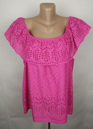 Блуза новая шикарная розовая кружево батистовка большой размер papaya uk 18/46/xxl