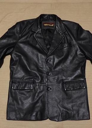 Массивный черный однобортный кожаный пиджак gapelle италия l.