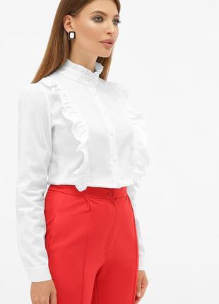 Белая хлопковая рубашка с рюшами * отличное качество