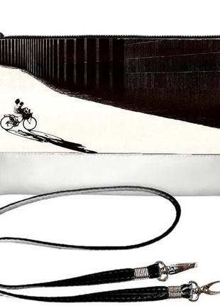 Роскошный черно-белый клатч стильный принт