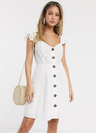 Asos платье прошва ракушки белое хлопковое с подкладкой тренд 2020 на пуговицах