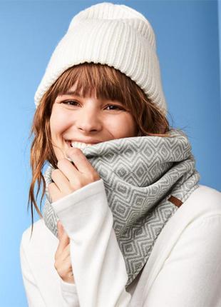 Шикарный теплый флисовый двухсторонний снуд, шарф от тсм tchibo (чибо), германия