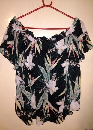 Очаровательная,яркая,блузка с открытыми плечами,в цветочный принт,большого размера,турция