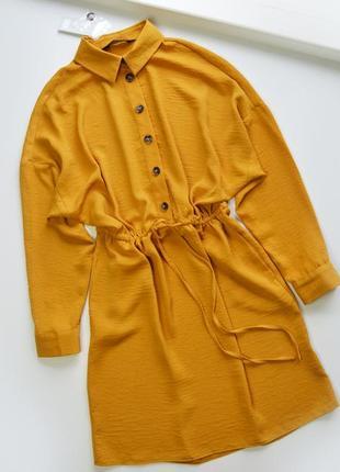 Платье рубашка в горчичном цвете