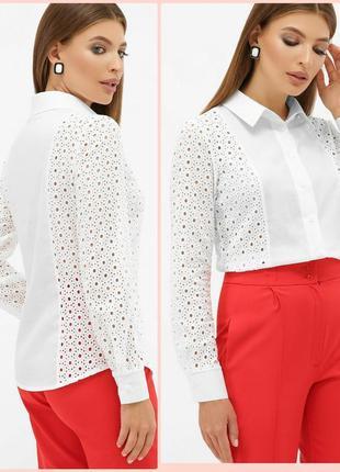 Белая коттоновая рубашка с рюшами * отличное качество