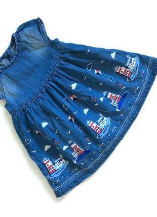 Джинсовае коттоновое синее платье в морской принт на подкладке