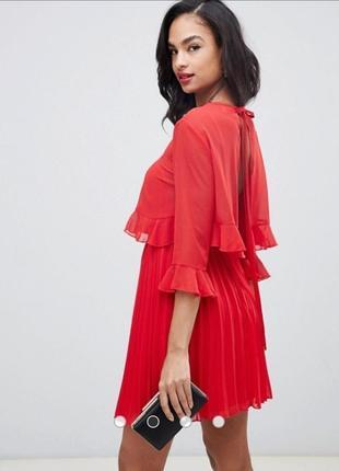 Невероятное красное платье плиссе asos