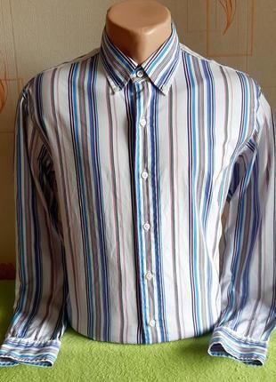 Шикарная рубашка в разноцветную полоску polo ralph lauren custom fit made in hong kong