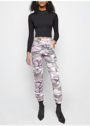 Крутые камуфляжные штаны джогеры / брюки карго new look