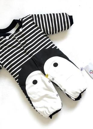 Новый с биркой демисезонный комбинезон  пингвин в черно-белую полоскуоп3