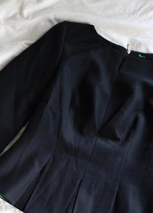 Темно-синий жакет с бирюзовой подкладкой