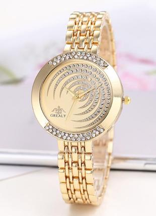 Часы женские с золотистым браслетом код 617