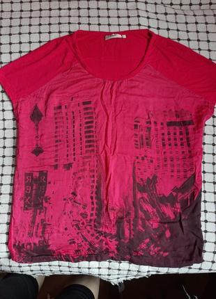 Яркая хлопковая футболка больших размеров от  dranella