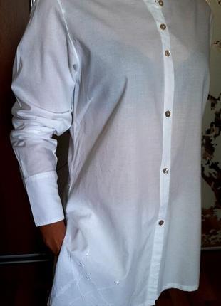 Красивейшая белоснежная рубашка из тончайшего хлопка