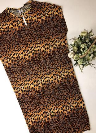 Платье asos плиссе в леопардовый принт  размер м-л{14} новое с биркой