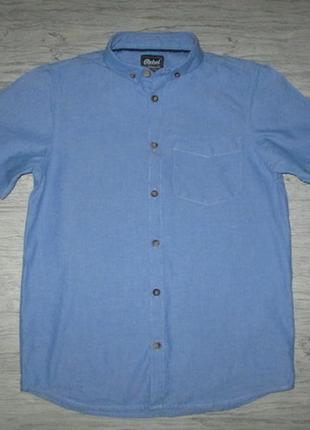 Клевая голубенькая котоновая рубашка с коротким рукавом фирмы ребел на 12-13 лет