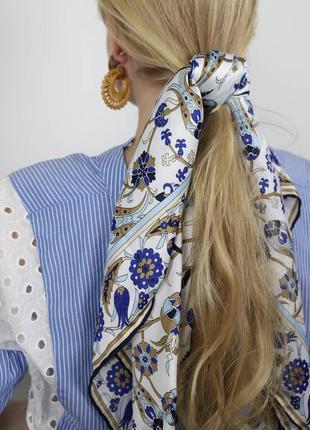 Женский платок на голову, шарф, белый с синим