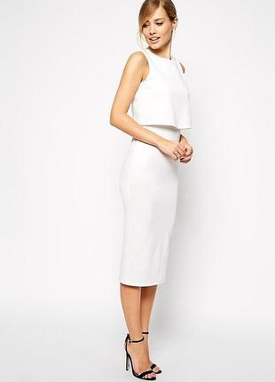 Новое с биркой  кремовое платье миди из неопрена asos размер 10