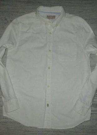Плотная белая котоновая рубашка фирмы zara на 11-12 лет