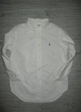 Плотная котоновая рубашка фирмы ральф лаурен на 6-7 лет(рпо бирке на 6 лет)