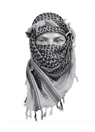 Арафатка шемаг куфия унисеекс бахрома черно-белый шарф палантин в клетку