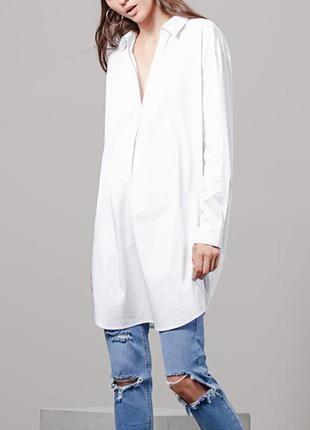 Платье длинная блуза туника хлопок белое свободного стиля оверсайз zara размер 6-8-10