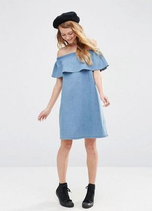 Тонкое джинсовое платье окрытые плечи без рукавов боковые карманы размер 10-12 denim co