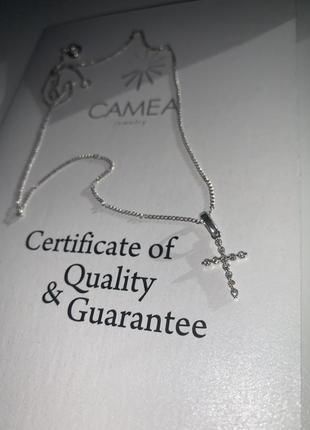 Крестик из белого золота с бриллиантами на цепочке