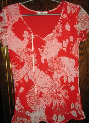 Двойная блуза футболка цветы  new look